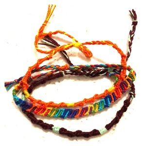 Stack of 3 handmade friendship bracelets